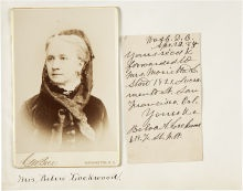 Although there were several cabinet photos and carte de visites made for Belva Lockwood (candidate for President in 1884 and 1888), most are rare.