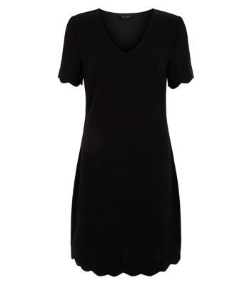 Black Scallop Hem Tunic Dress