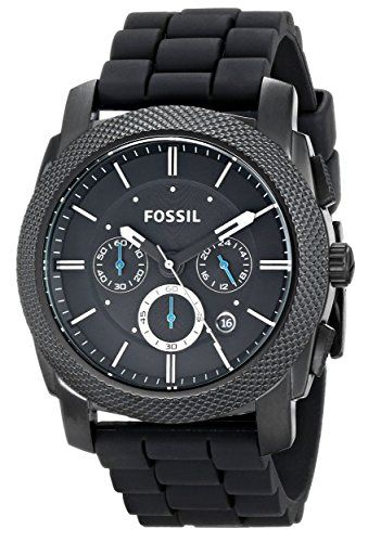 Now available Fossil Men's FS4487 Machine Chronograph Black Stainless Steel Watch with Silicone Band