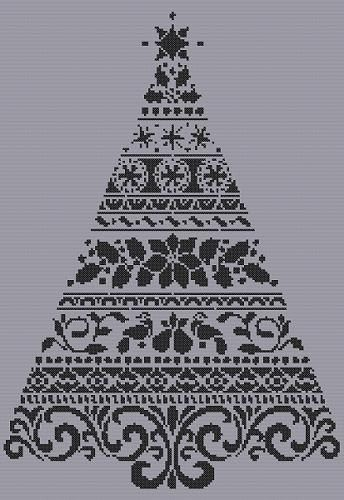 Monochrome Christmas tree cross stitch pdf chart pattern instant download
