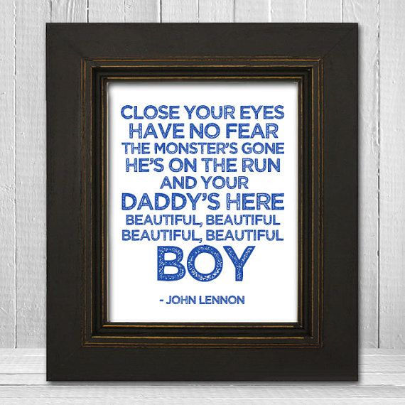John Lennon Nursery Print 11x14 - Beatles Nursery Print - Beautiful Boy Lyrics Print - White Background Choose Text Color
