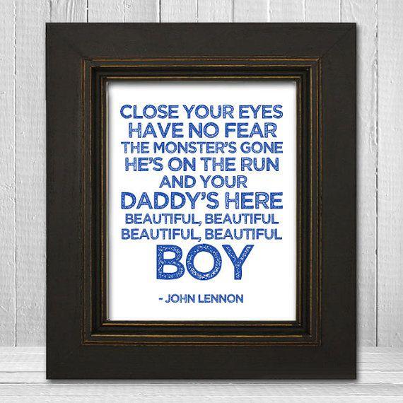 John Lennon Nursery Print 11x14 - Beatles Nursery Print - Beautiful Boy Lyrics Print - White Background Choose Text Color on Etsy, $23.00 @Kelly Teske Goldsworthy Teske Goldsworthy Teske Goldsworthy Whitesel Helgeson