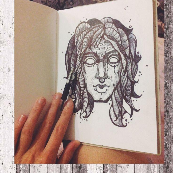 Портрет. Ручка, А5 #набросок #графика #ручка #идея #спб #тату #портрет #человек  #sketch #drawing #pen #idea #Petersburg #tattoo #portrait #man
