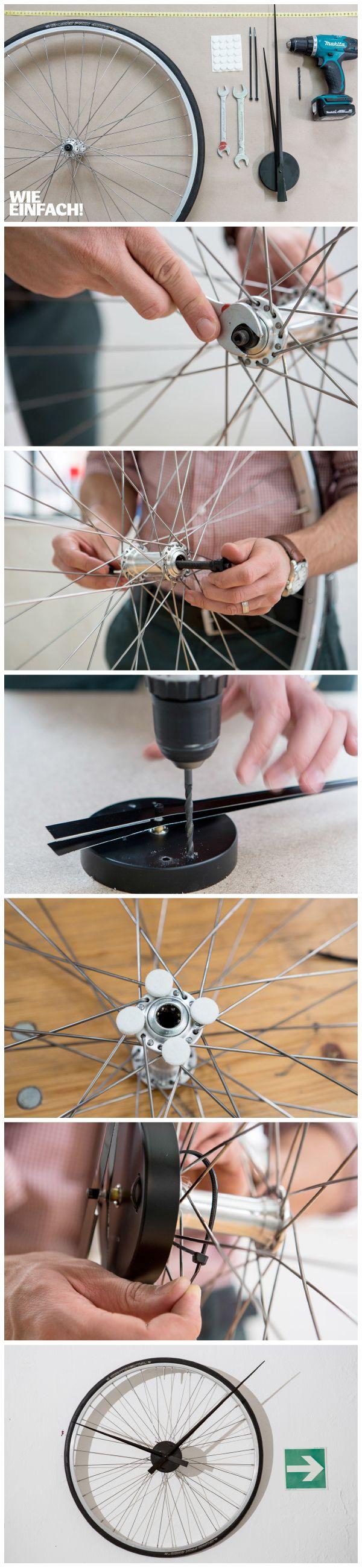 Aus einem alten Rennradreifen lässt sich im Nu eine schöne Wand-Uhr machen :) #Uhr #diy #Rad #Rennrad