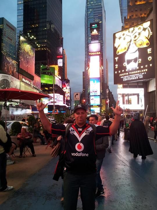 Daniel Taiapa repping the Vodafone Warriors in Times Square, New York