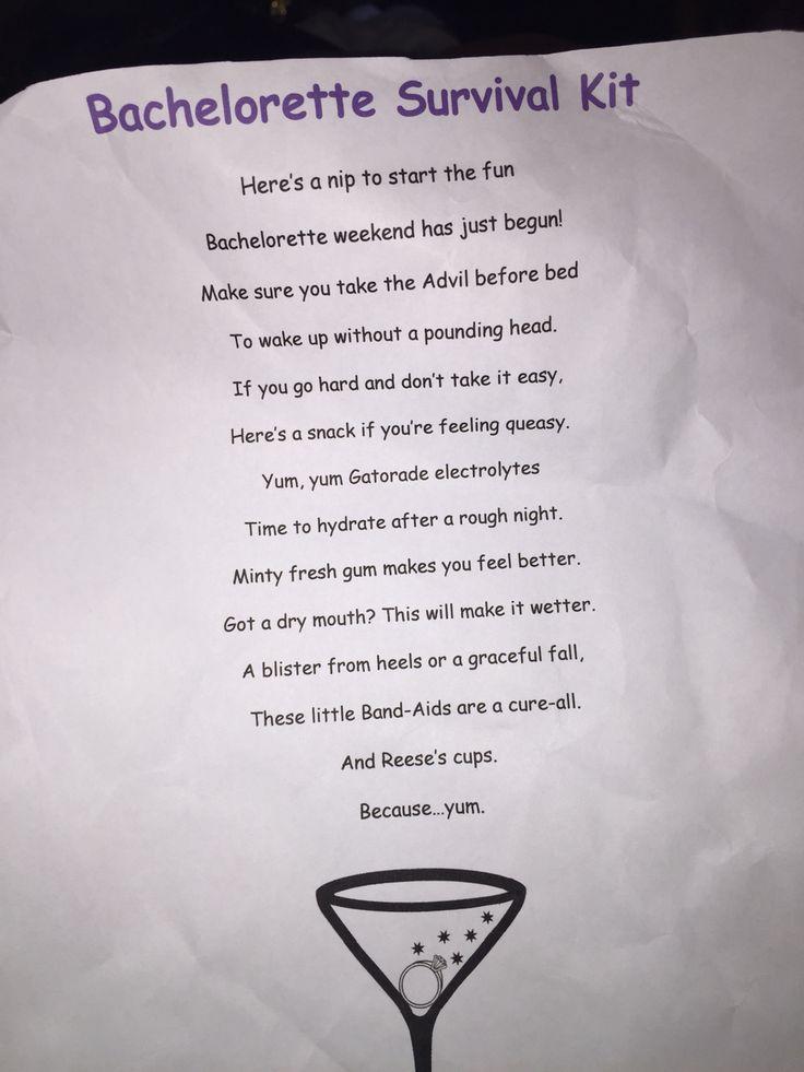 Bachelorette survival kit poem