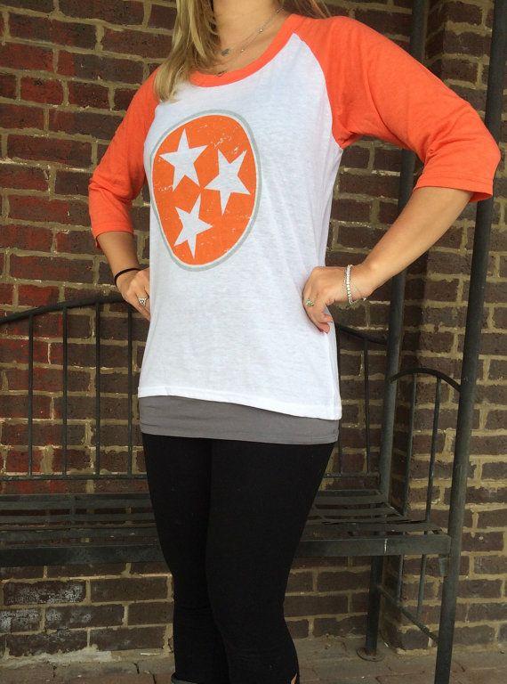 TN Tri Star tshirt Ladies Tennessee shirt by CloverDepot on Etsy