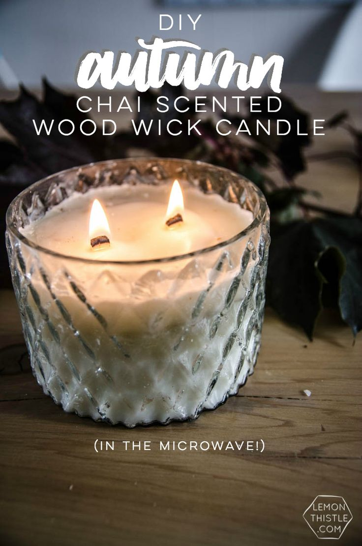 DIY Chai Scented Wood Wick Candle- in the microwave! I love an easy (cheap!) version of those expensive candles!