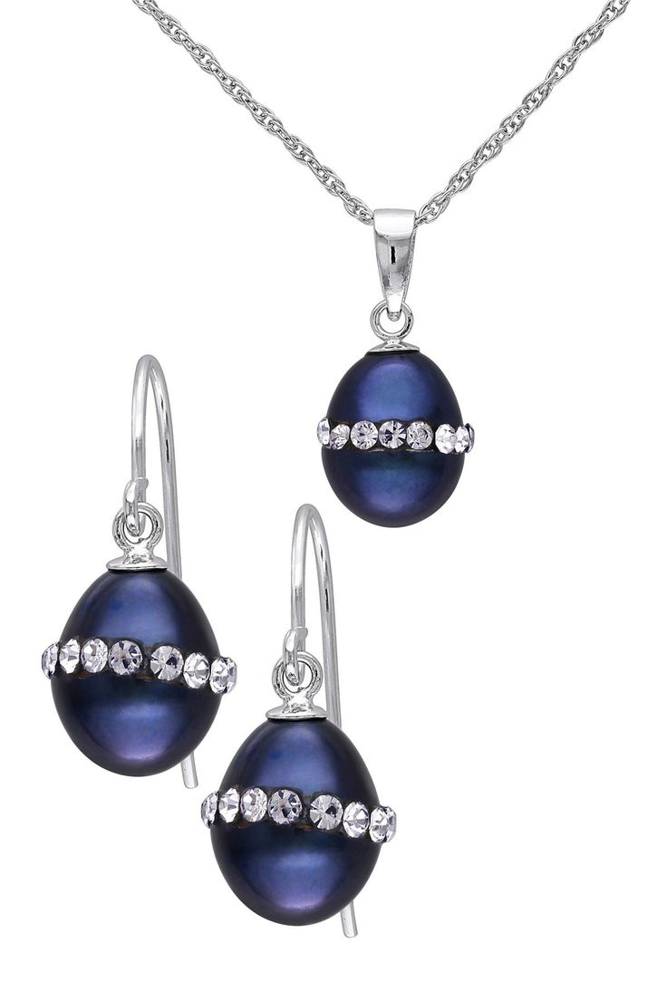 8.5-9mm Freshwater Black Rice Pearl Earrings & Necklace Set
