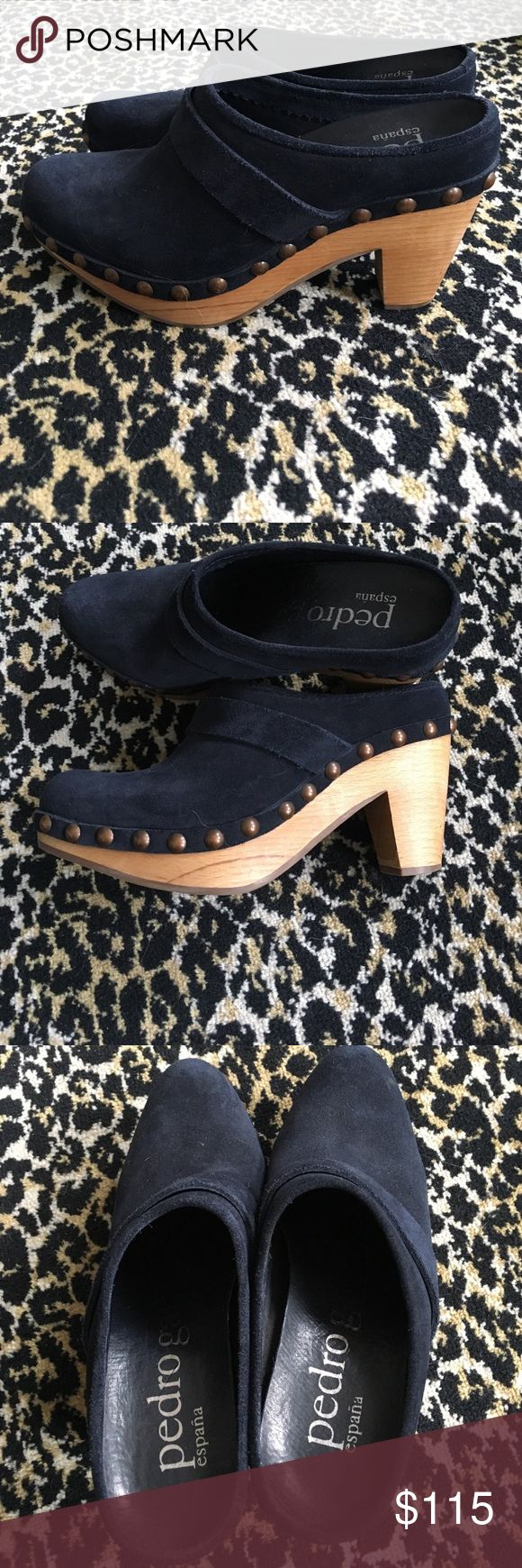 "Pedro Garcia navy suede clogs Too small for me. Beautiful Pedro Garcia clogs. Gold hardware. 4.5"" heel. In near perfect condition. Made in Spain! pedro garcia Shoes Mules & Clogs"