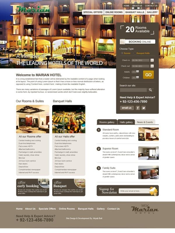 Hotel Web Design by atiyab butt, via Behance