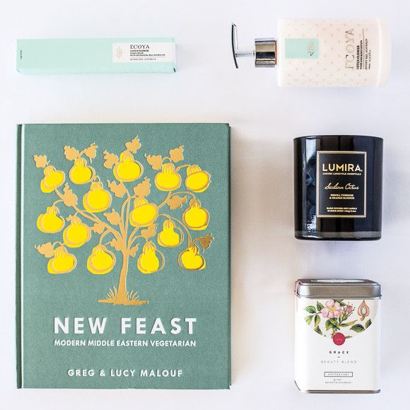 + Indulge with this stunning gift box for ladies.   Based on the freshest ingredients and cooked from the heart, Greg and Lucy Malouf's recipes are designed for sharing and enjoying in company. New Feast is a beautiful book. Spread over nearly 300 pages it is a collection of delectable recipes set to inspire your next small gathering.  Lumira's luxury candle collection is a celebration of beautiful scent, sophisticated design and the spirit of travel. Sicilian Citrus is a sensual and gently…