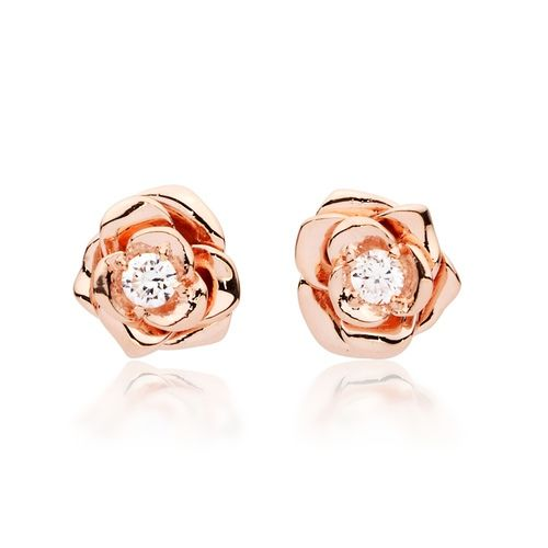 Belle Rose Blossom Stud Earrings with Rose Gold Plated