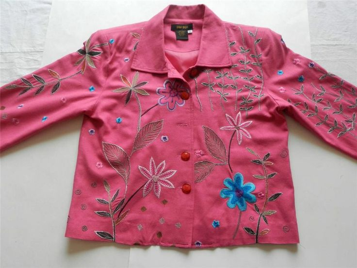 Bala Bala Womens Sz S Jacket Top Shirt Pink Floral 100% Silk