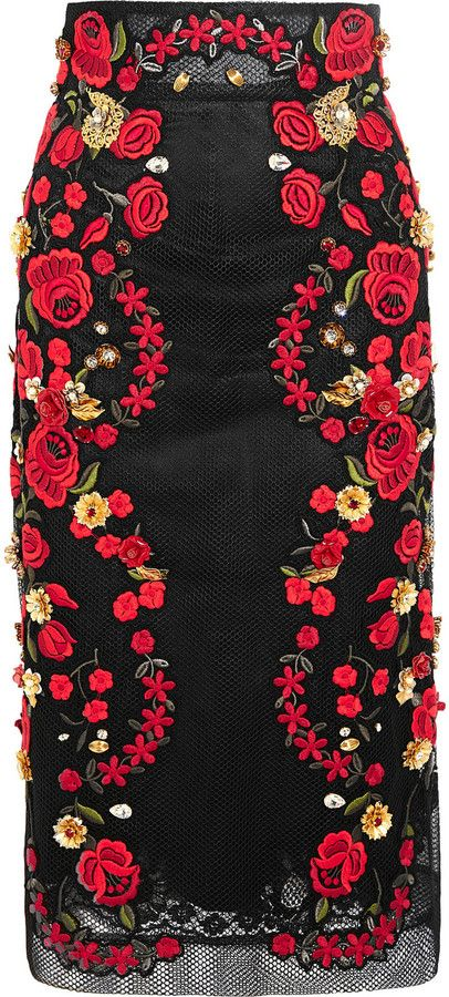 Dolce & Gabbana Embroidered Mesh Midi Skirt