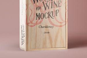 Psd Wine Wood Box Mockup Vol3