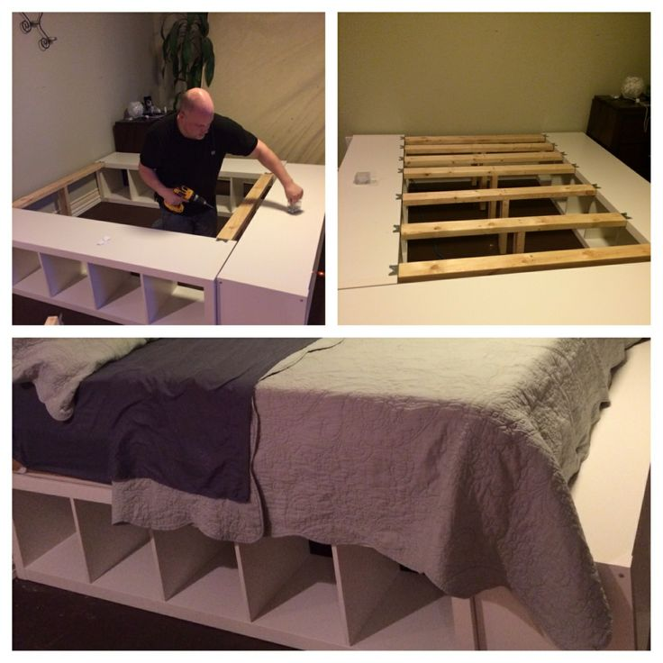 DIY king size bed made from a few 2x4s cut to fit the space between shelves, 3 ikea expedition shelves, metal brackets to hold it all together.... Voila! Even has a nice little bench at the end for sitting on while putting on shoes etc.... We love it!