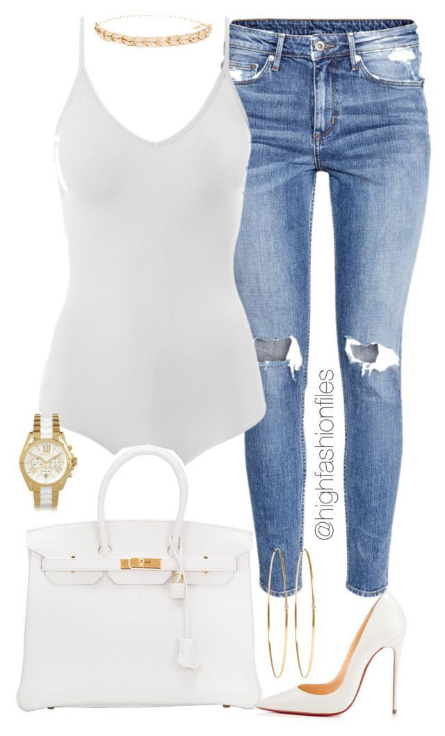"""Simple"" by highfashionfiles ❤ liked on Polyvore featuring H&M, Intimissimi, Ettika, Jennifer Meyer Jewelry, Hermès, Christian Louboutin and Michael Kors"
