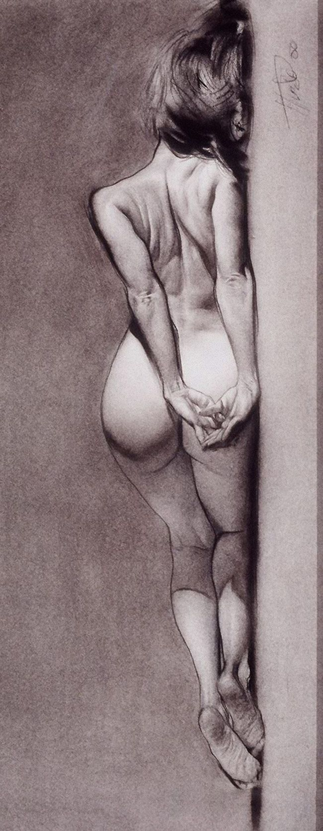 Contemporary figurative artist Steve Huston, discreet nude woman posterior back reclining charcoal figure drawing rotated, 2000. Good model pose. <3