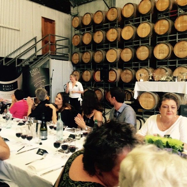 Liz Silkman chats about our Shiraz #soproud #firstcreekwines #wmrlunch15