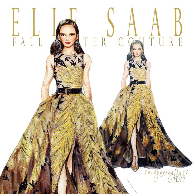 Elie Saab Fall Winter Couture illustration by swidyaningtiyas