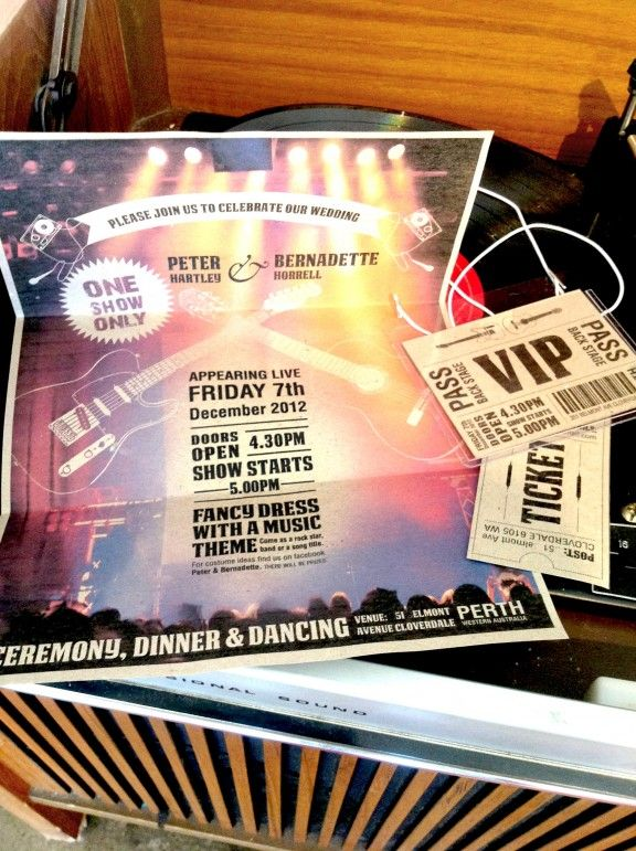 Backstage passes & show posters as Rock & Roll wedding invites.