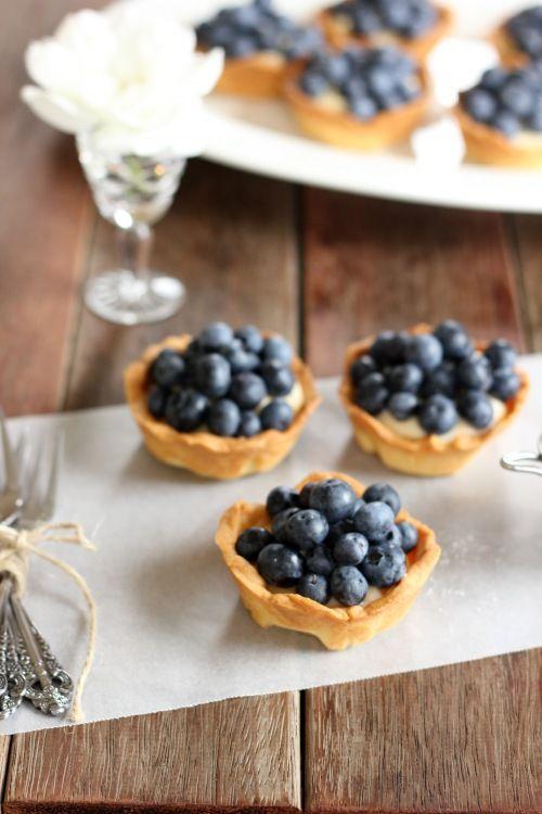 Lemon custard and blueberries.