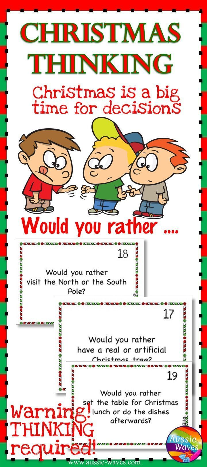 image about Would You Rather Cards Printable referred to as Xmas Would Yourself Really? Vacation Enjoyment Entertaining Xmas