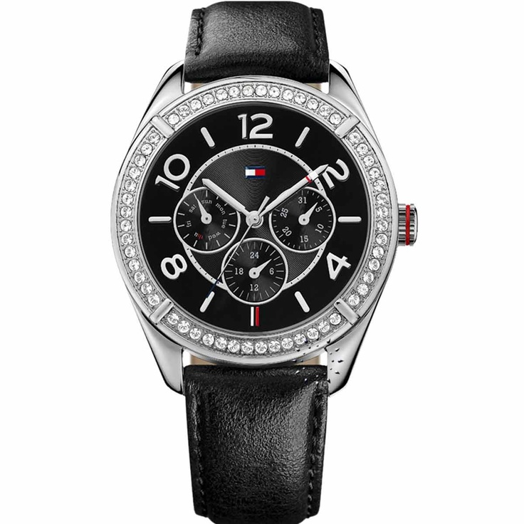 Tommy Hilfiger Black Leather Strap Crystal Ladies Τιμή: 139€ http://www.oroloi.gr/product_info.php?products_id=30394