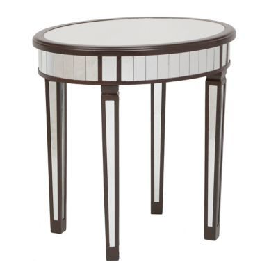 Brown Round Mirrored Accent Table
