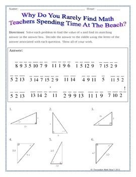Right Triangles - Sin Cos Tan (Soh Cah Toa) Trig. Riddle Practice ...