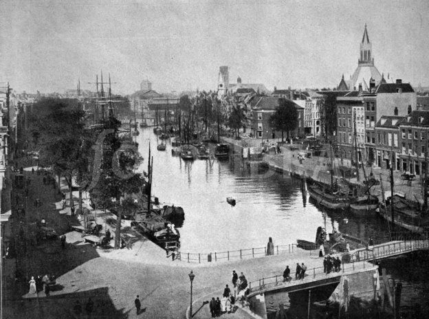 Early autotype of Rotterdam, Netherlands, 1880