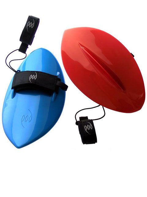 POD Handboards - Solid Plastic  Our handboards keep your hands in the natural swimming position and the double padded board straps and palm deck pad makes them comfortable to use