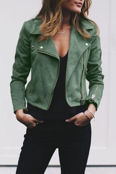 Fold Over Collar  Zipper  Plain Jackets For Woman