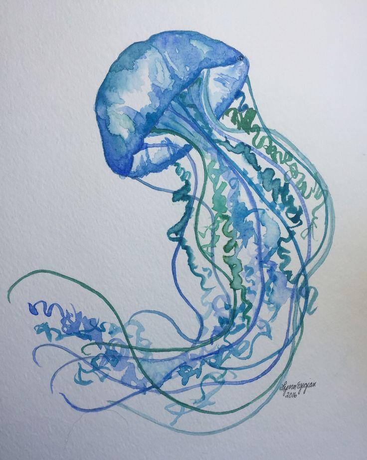 Watercolor jellyfish by Lynn Egigian