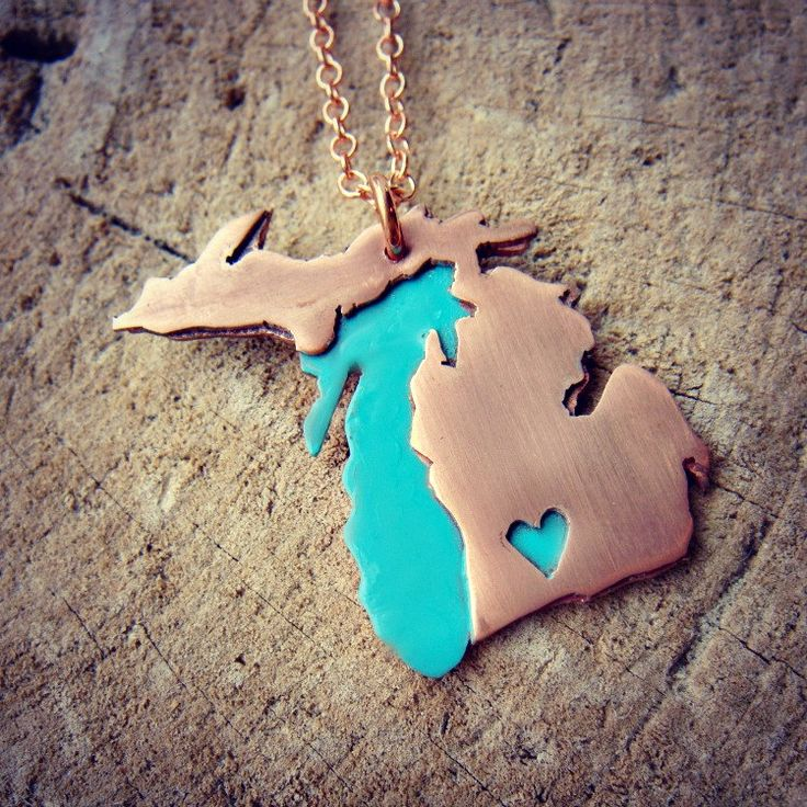 Copper Full Michigan Love Made to Order over your Favorite City. $40.00, via Etsy.  Want so badly!!