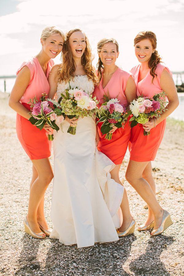 Rhode Island Beach Wedding, Pastels Two Tone Multi Color Bridesmaid Dresses  For Boho Chic Bohemian