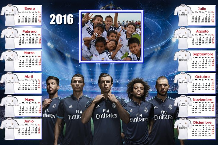 Calendarios para Photoshop: Calendario para el 2016 del Real Madrid para Photo...