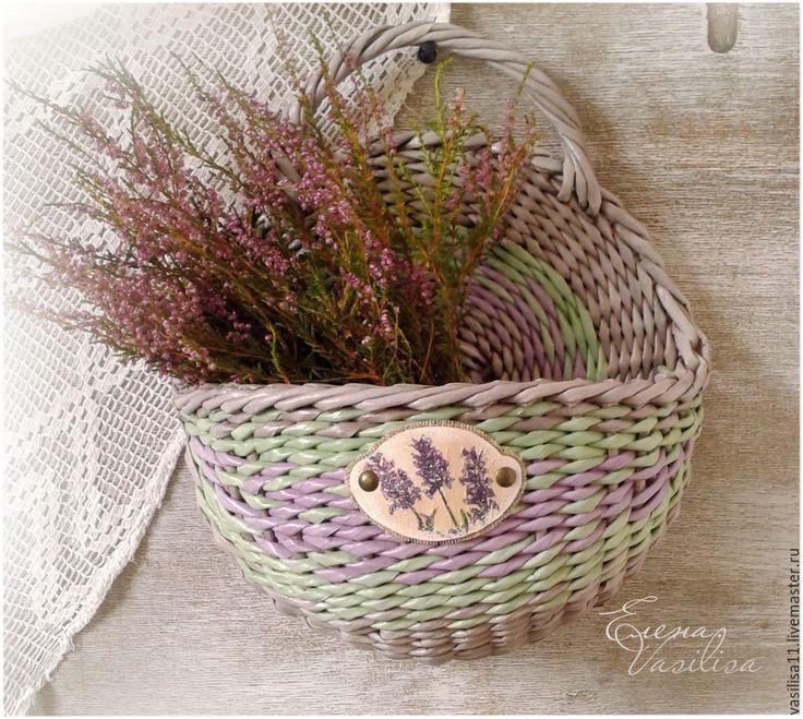 """Купить Корзиночка настенная """"Лавандовая"""" - настенная корзина, плетеная, елена василиса, кашпо, для цветов"""