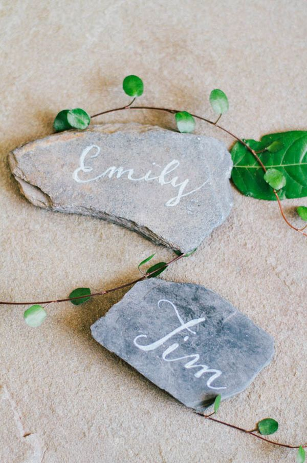 Organic Rustic Indoor Wedding via oncewed.com | name plates