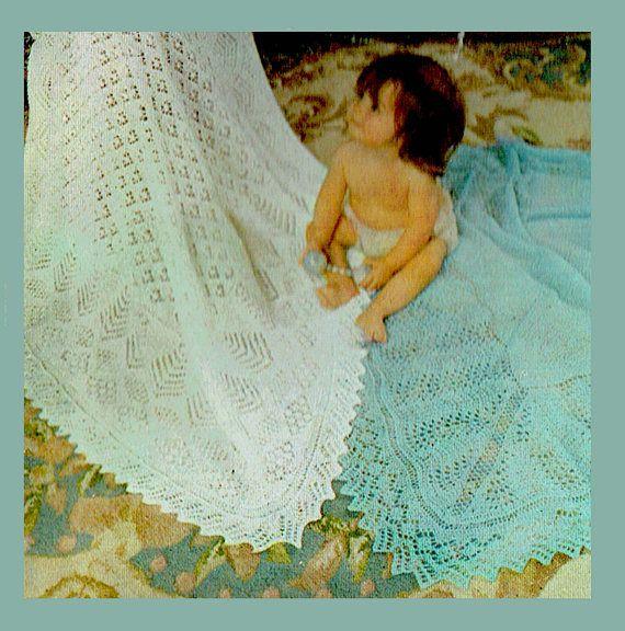 PDF Vintage Baby 2 Christening Blankets Knitting Pattern