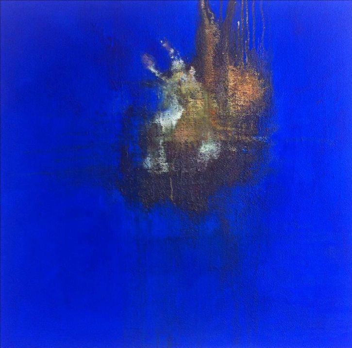 L'instant-de-Cyrille-Borgnet - Bleu (mortier pigments et oxyde de cuivre sur toile 150x150) 2013