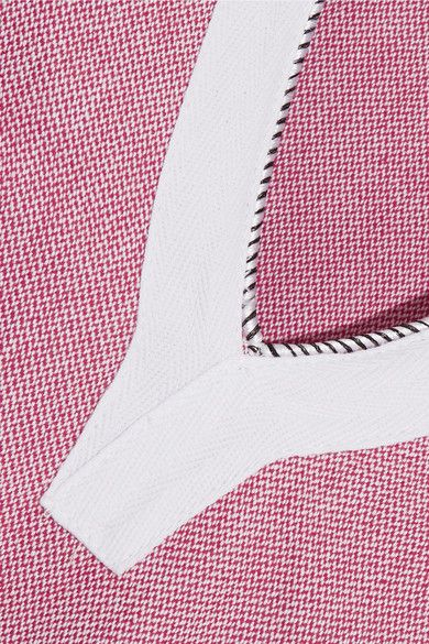 Koza - Riri Lace-up Fringe-trimmed Cotton-chambray Kaftan - Red - x large