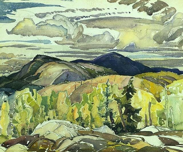"""""""La Cloche Landscape,"""" Frank Carmichael, ca. 1939-1940, watercolor over graphite on wove paper, 11.14 x 13.46"""", National Gallery of Canada."""