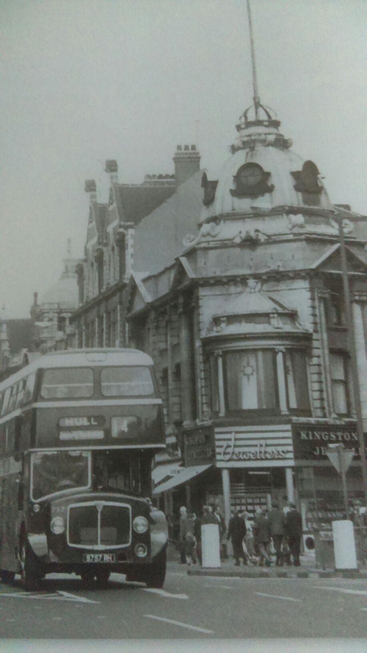 Looking down King Edward street. Hull.  1970.