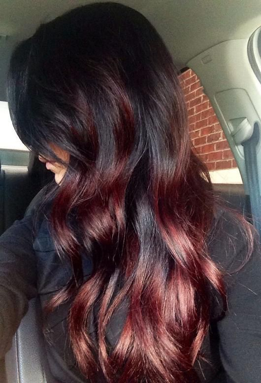 Dark Red on Black Hair - @Hannah Mestel Rush maybe i could do something like this??