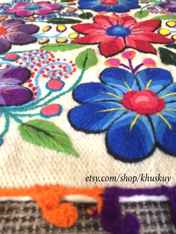 Decorativos almohada peruano fundas bordadas flores 16 x 16