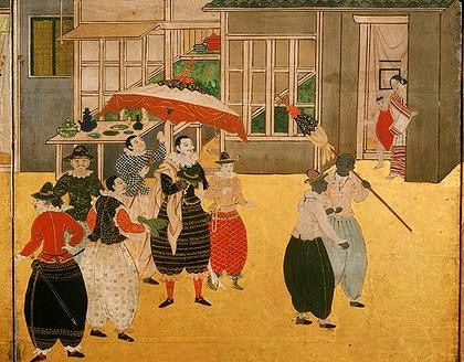 Portuguese arrival (1543) in Japan. Namban Byobu (detail).