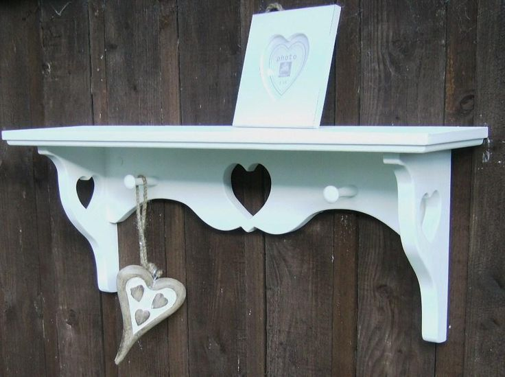 Quality Craftsman Made Shabby Chic Shelf. with 3 heart cutouts and 2 shaker pegs. Comes predrilled complete with screws, rawlplugs and cover caps ready to wall hang. | eBay!