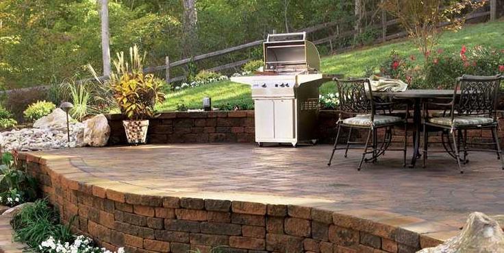 Retaining wall idea backyard step up patio retaining for Step up garden designs